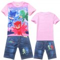 Girls PJMASKS tee with denim pants - pink