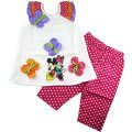 Girls summer 3d flower seersucker top with dotty pants - Minnie