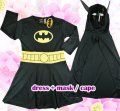 Batman girls dress Costume party dress up with Mask 2pcs black